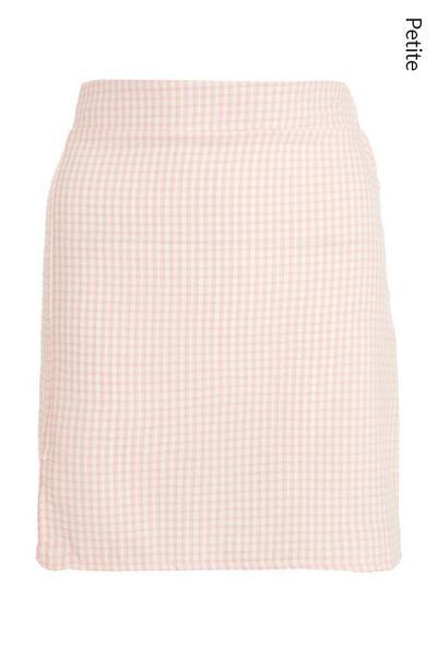 Petite Pink Gingham Skirt